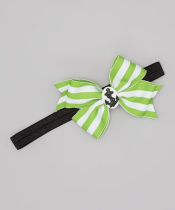 Lime & White Stripe Nautical Bow Headband