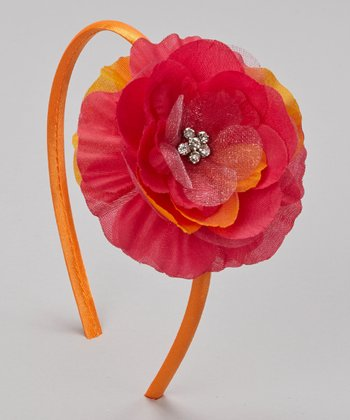 Tangerine & Shocking Pink Rhinestone Flower Headband