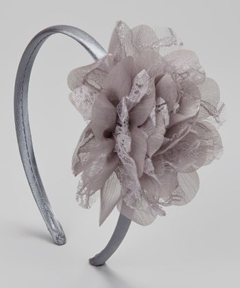 Steel Gray Lace Flower Headband