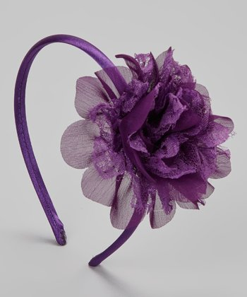Regal Purple Lace Flower Headband