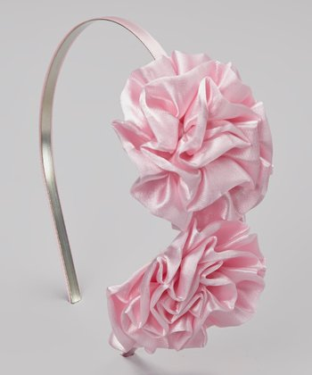Light Pink Double Satin Puff Headband