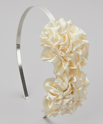 Ivory Double Satin Puff Headband