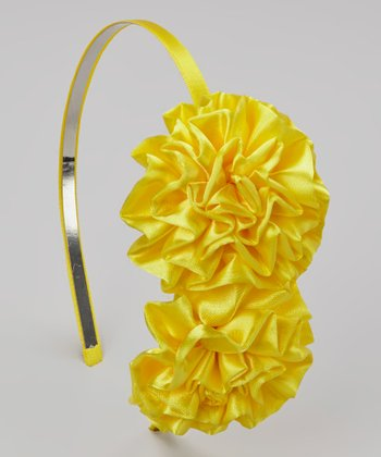 Lemon Double Satin Puff Headband