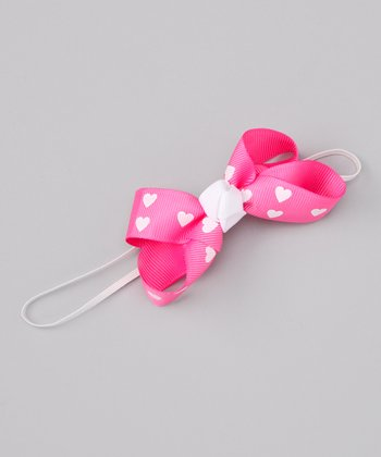 Candy Pink & White Heart Bow Headband