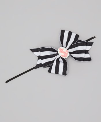 Black & White Stripe Nautical Bow Headband