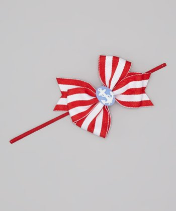 Red & White Stripe Nautical Bow Headband
