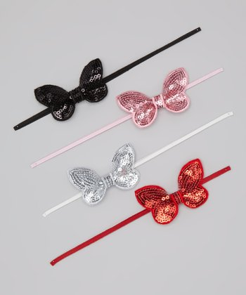 Pink & Silver Sequin Butterfly Headband Set