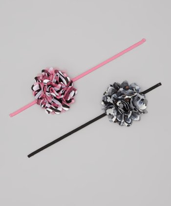 Pink & Black Zebra Puff Headband Set