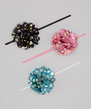 Punchy Polka Dot Puff Headband Set