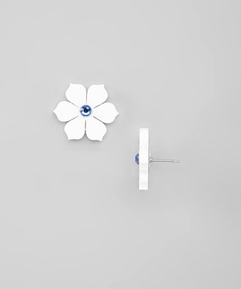 Blue Swarovski Crystals & White Lotus Stud Earrings
