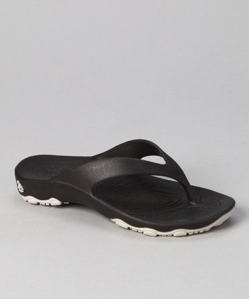Black & Silver Destination Flip-Flop - Boys