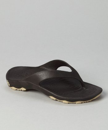 Dark Brown & Tan Destination Flip-Flop - Boys