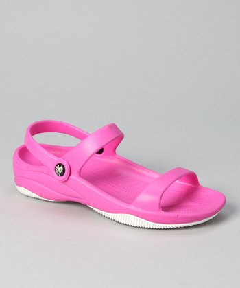 Hot Pink & White Triple-Strap Sandal