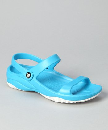 Peacock Blue & White Triple-Strap Sandal