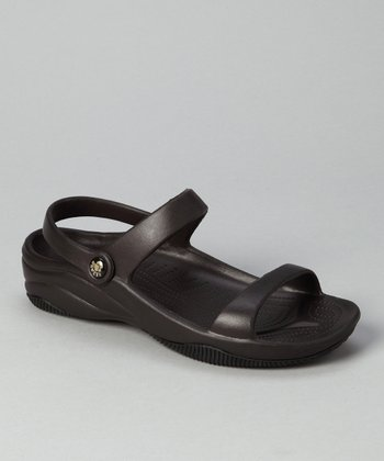 Dark Brown & Black Triple-Strap Sandal