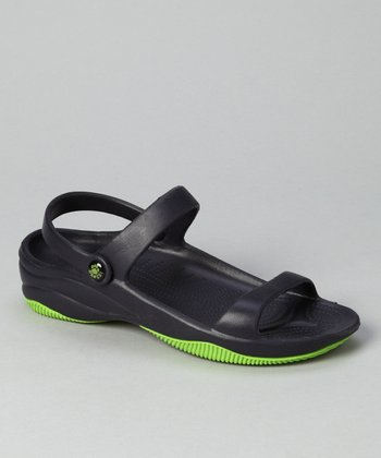 Navy & Lime Green Triple-Strap Sandal