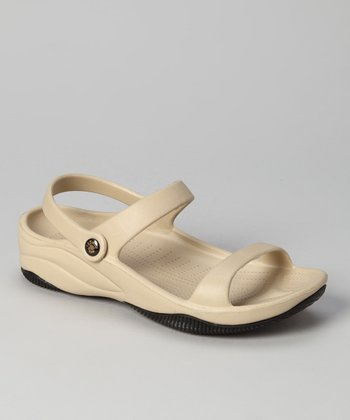Tan & Black Triple-Strap Sandal
