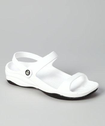 White & Black Triple-Strap Sandal
