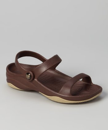 Dark Brown & Tan Triple-Strap Sandal - Kids
