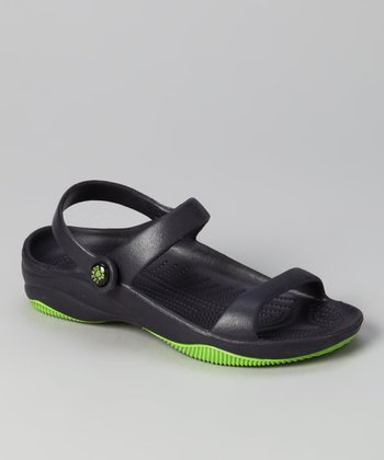 Navy & Lime Green Triple-Strap Sandal - Boys