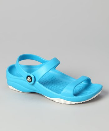 Peacock Blue & White Triple-Strap Sandal - Girls
