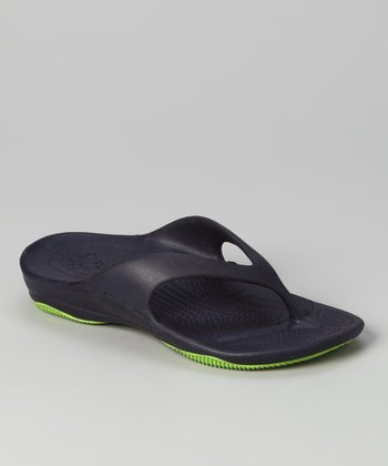 Navy & Lime Green Flip-Flop - Boys