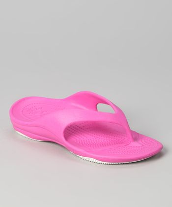 Hot Pink & White Flip-Flop - Girls