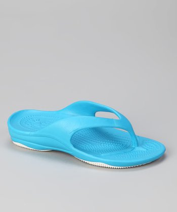 Peacock Blue & White Flip-Flop - Kids