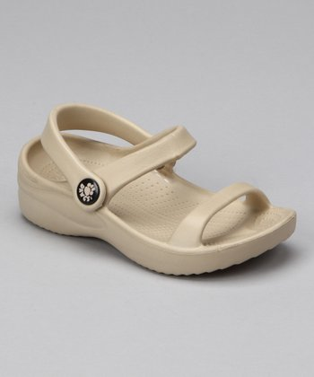 Tan Triple-Strap Sandal - Kids