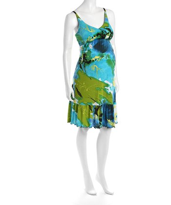 Blue & Green Cha Cha Flounce Hem Maternity Dress