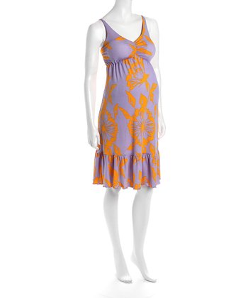 Lilac & Orange Cha Cha Flounce Hem Maternity Dress