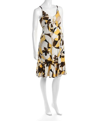 Yellow & Black Cha Cha Flounce Hem Maternity Dress