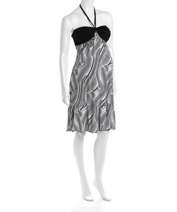 Black & White Halter Cha Cha Flounce Hem Maternity Dress