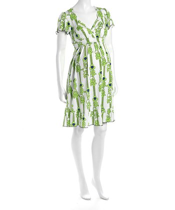 Green Flower Cap-Sleeve Flounce Hem Maternity Dress