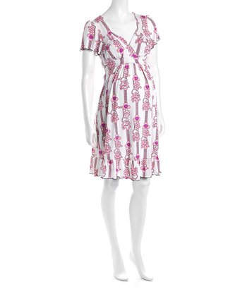 Pink Flower Cap-Sleeve Flounce Hem Maternity Dress