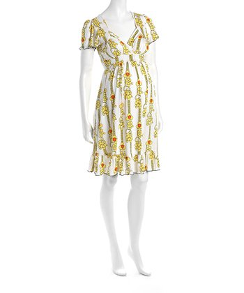 Yellow Flower Cap-Sleeve Flounce Hem Maternity Dress