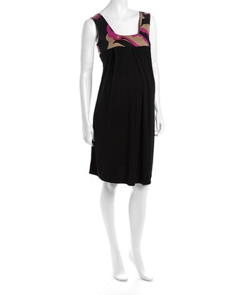 Black & Purple Maternity Babydoll Dress