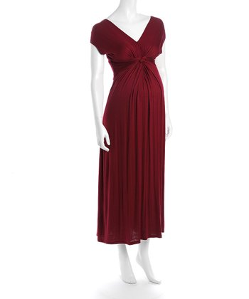 Burgundy Victoria Maternity Maxi Dress