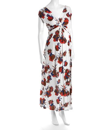 Red & White Victoria Maternity Maxi Dress