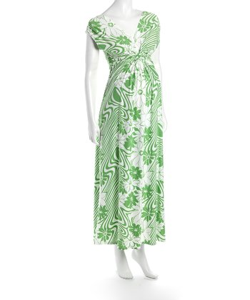 White & Green Victoria Maternity Maxi Dress