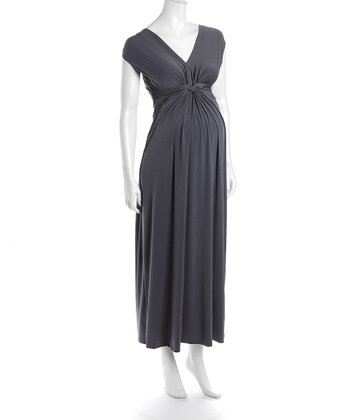 Gray Victoria Maternity Maxi Dress
