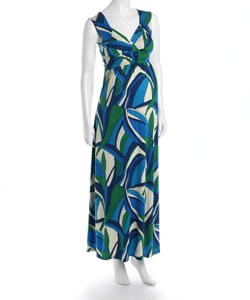 Blue & Green Athenia Maternity Maxi Dress