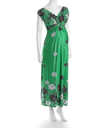 Green Flower Victoria Maternity Maxi Dress