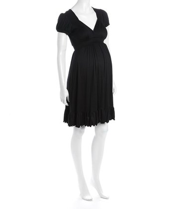 Black Cap-Sleeve Flounce Hem Maternity Dress