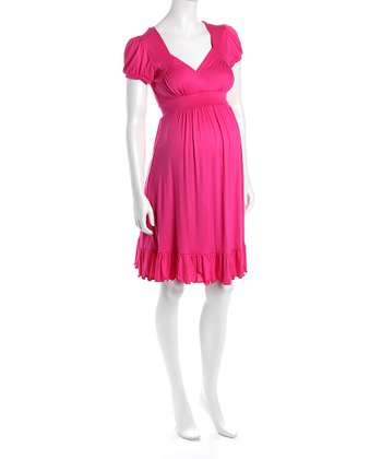 Fuchsia Cap-Sleeve Flounce Hem Maternity Dress