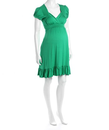 Green Cap-Sleeve Flounce Hem Maternity Dress