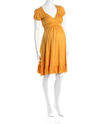 Mustard Cap-Sleeve Flounce Hem Maternity Dress