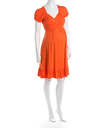 Orange Cap-Sleeve Flounce Hem Maternity Dress