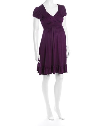 Purple Cap-Sleeve Flounce Hem Maternity Dress