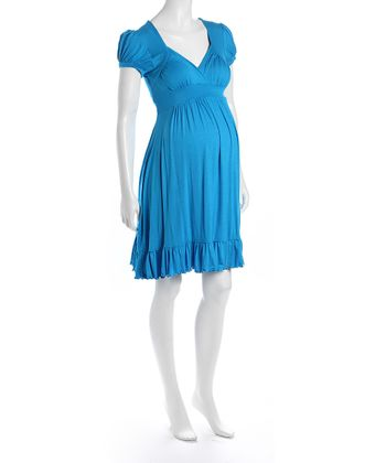 Turqouise Cap-Sleeve Flounce Hem Maternity Dress